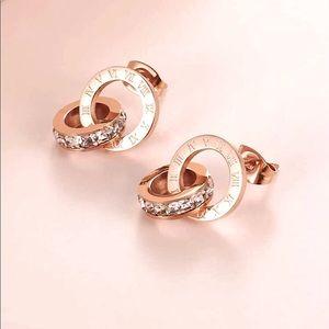 NEW Rhinestone Circle Drop Rose Gold Earrings